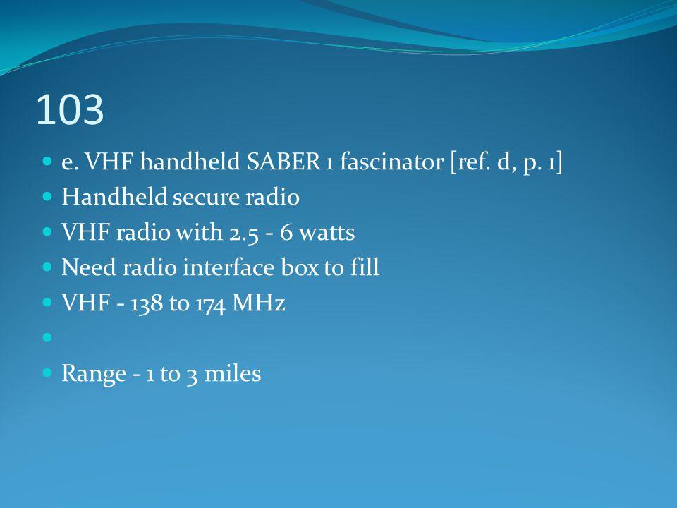 103 e. VHF handheld SABER 1 fascinator [ref. d, p. 1]